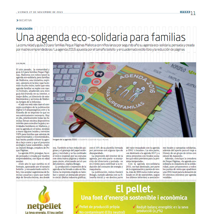 página entera en El Mundo sobre la agenda 2016 eco-solidaria Mallorca Kid-Friendly