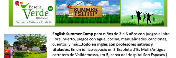 English summer camp Bosque Verde en Es Moli, Mallorca